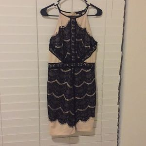 Forever21 nude w/black lace contrast dress size M.